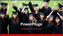PowerPoint Template - group graduation of students looking very happy