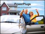 PowerPoint Template - Elderly couple near their home. Real estate and insurance concept