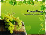 PowerPoint Template - Wine barrel with fresh grape and grapevine framing, on background of sunset vineyard
