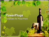 PowerPoint Template - Design with white wine still life and grapevine border