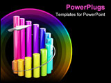 PowerPoint Template - Business 3D graph with arrow showing profits and gains