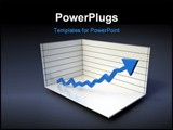 PowerPoint Template - Chart with blue arrow rising 3D graph illustration
