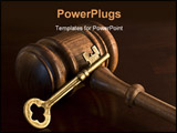 PowerPoint Template - Brass key and wooden judges gavel symbolic of judicial decision-making and critical judgments.