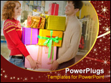 PowerPoint Template - Portrait of shopaholics holding heap of presents and wondering what to do next