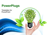 PowerPoint Template - green bulb as symbol of sustainable energy and nature protection