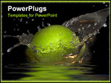 PowerPoint Template - green apple and bursts of water spray