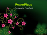 PowerPoint Template - vector illustration of green background with flowers
