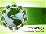 PowerPoint Template - 3d blue earth made by green plants