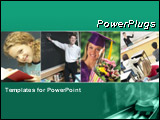 PowerPoint Template - Green template with education and school collage. Illustrates education, school, academic, learning.