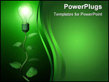 PowerPoint Template - Green light lamp bulb on dark background.