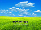 PowerPoint Template - field -green grass the blue sky and white clouds