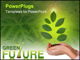 PowerPoint Template - Green plant in women hands isolated on white background