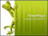 PowerPoint Template - Fun little green gecko, 3d generated lizard