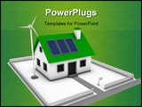 PowerPoint Template - reen energy conceptual rendering of a house with a wind turbine and solar panels with a for sale si