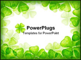 PowerPoint Template - drawing of beautiful crayon drawing about four leaf clover