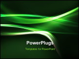 PowerPoint Template - Green streams of light with shining stars against a colorful background