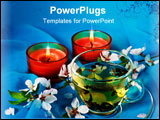 PowerPoint Template - Green hot tea and two aromatic candles with blossom cherry flowers