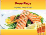 PowerPoint Template - grilled salmon with asparagus, pea, yellow peppers, carrots and spring onions on white plate