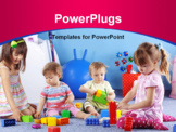 PowerPoint Template - Group of kids playing with constructor