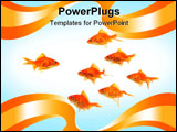 PowerPoint Template - goldfish group leader isolated on white background