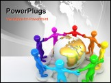 PowerPoint Template - roup of people around of earth. 3d Very beautiful three-dimensional illustration on white backgroun