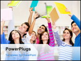PowerPoint Template - Happy group of students celebrating with arms up