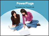 PowerPoint Template - female students isolated over a white background