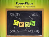PowerPoint Template - ROW (goals reality options will) - life coaching motivation acronym chalk handwriting and sticky no
