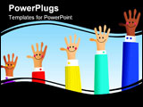 PowerPoint Template - diverse happy business hands growing in success