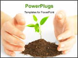 PowerPoint Template - Human hands hold and preserve a young plant