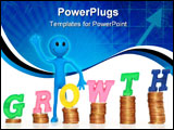 PowerPoint Template - Smilie with coins and word Growth isolated