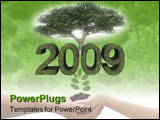 PowerPoint Template - Green year 2009 with tree environmental theme on white background.