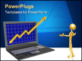 PowerPoint Template - Laptop. The concept of financial growth.