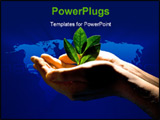 PowerPoint Template - Image of sprout in the human hands on a dark-blue background