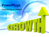 PowerPoint Template - the word growth with increasing size letters and an arrow on top of the last letter