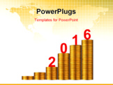 PowerPoint Template - Gold business graph with gold arrow up represents the growth in 2016 year