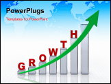 PowerPoint Template - Business growth graph with grid and arrow showing a positive trend