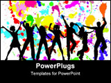 PowerPoint Template - Silhouettes of people dancing on a grunge background