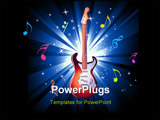 PowerPoint Template - Music Event Background with a colorful Electric Guitar With high contrast colors