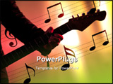 PowerPoint Template - Hand playing guitar live on stage in reddish backlight