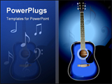 PowerPoint Template - A vector  of a blue acoustic guitar on a dark faded background