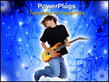 PowerPoint Template - Boy Jumping With Electric Guitar. Motion blur in head and upper body.