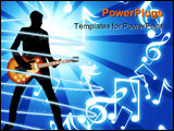 PowerPoint Template - black silhouette man and guitar on a white