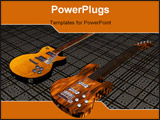 PowerPoint Template - cool 3D guitar on black white stripes