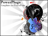 PowerPoint Template - A graphic guitar with a singing girl.