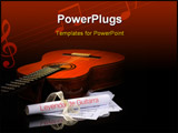 PowerPoint Template - acoustic guitar with music sheet on the black background