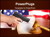 PowerPoint Template - Hand with gun aiming at judges wooden gavel with gun and very old paper with US flag in the background