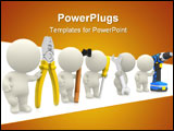 PowerPoint Template - 3D guys holding tools - isolated over a white background