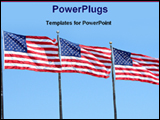 PowerPoint Template - three American flags