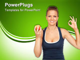 PowerPoint Template - Gymnastics girl with an apple saying OK on white background